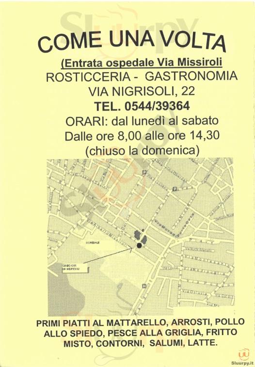 COME UNA VOLTA Ravenna menù 1 pagina