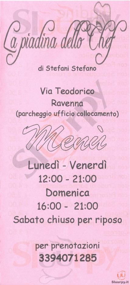 LA PIADINA DELLO CHEF Ravenna menù 1 pagina