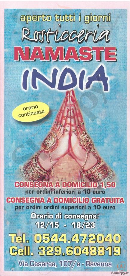 NAMASTE INDIA Ravenna menù 1 pagina