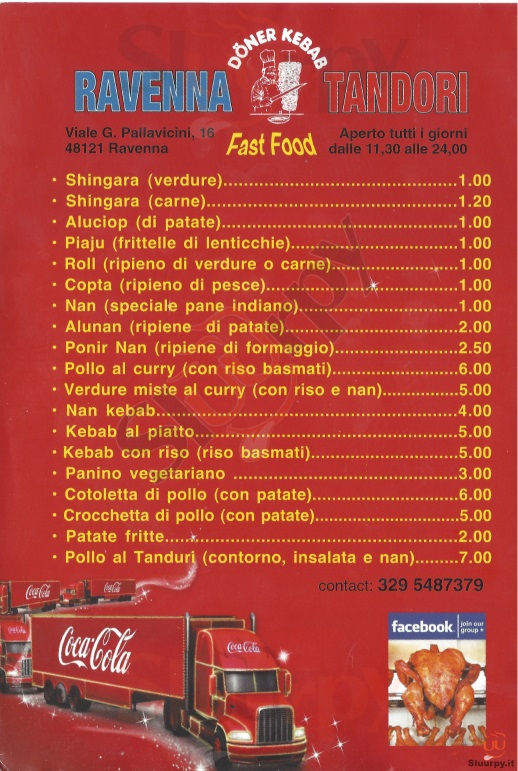RAVENNA TANDORI FAST FOOD Ravenna menù 1 pagina