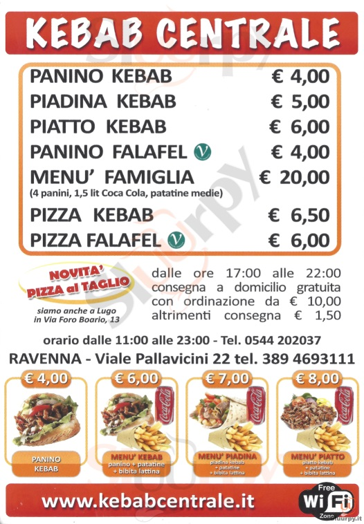 KEBAB CENTRALE Ravenna menù 1 pagina