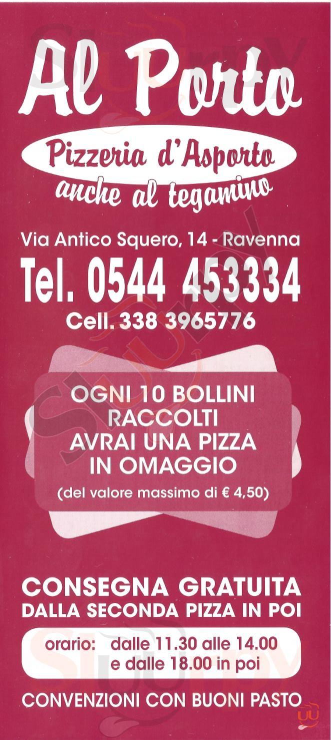 AL PORTO Ravenna menù 1 pagina