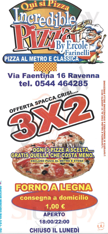 INCREDIBLE PIZZA Ravenna menù 1 pagina