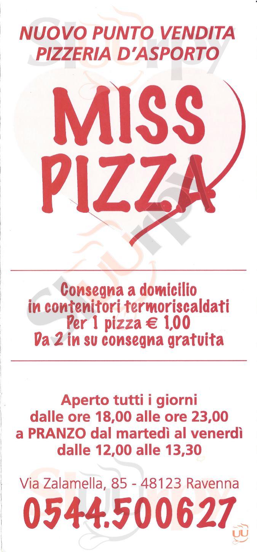 MISS PIZZA Ravenna menù 1 pagina