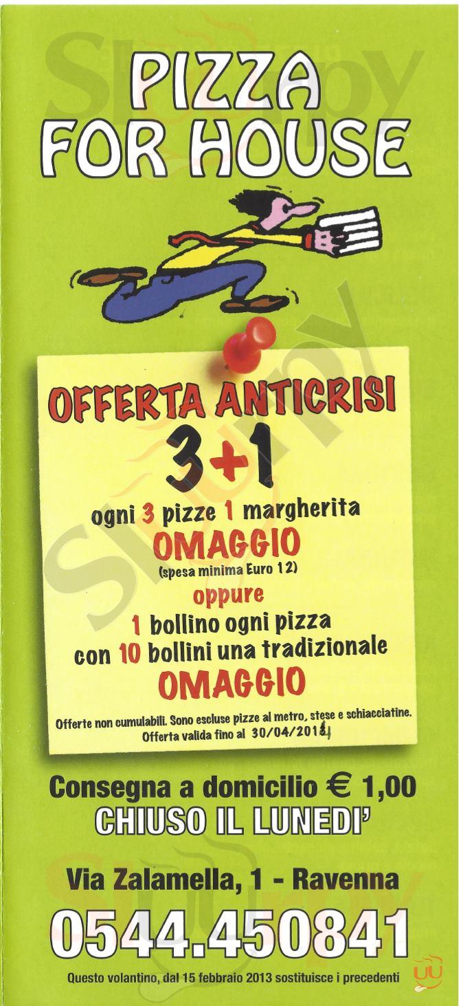 PIZZA FOR HOUSE Ravenna menù 1 pagina