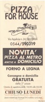 Menu PIZZA FOR HOUSE