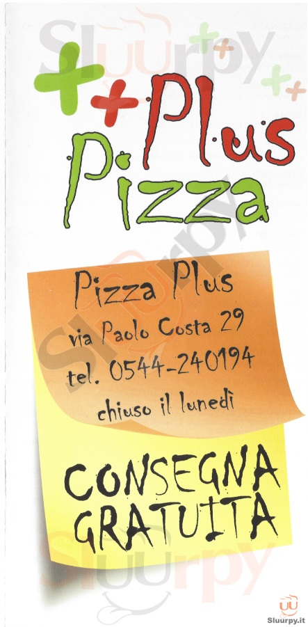 PIZZA PLUS Ravenna menù 1 pagina