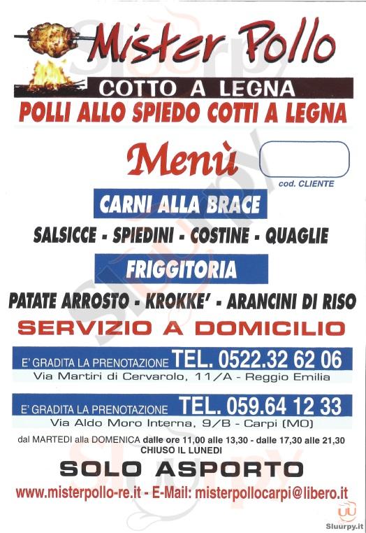 MISTER POLLO - Reggio Emilia Reggio Emilia menù 1 pagina