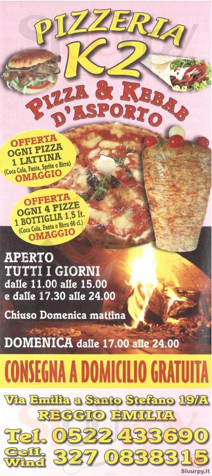 K2 Reggio Emilia menù 1 pagina