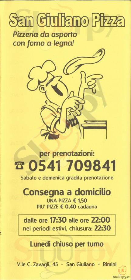 SAN GIULIANO PIZZA Rimini menù 1 pagina