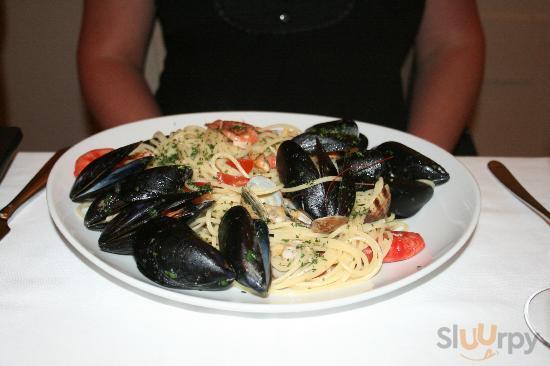 Pasta med musslor.