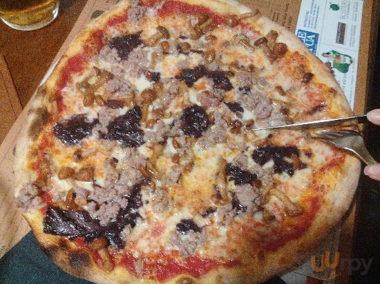 Pizza Treviso (crema di radicchio - chiodini - salciccia)