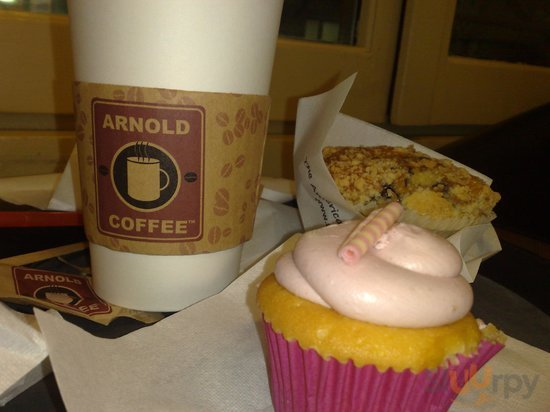 cupcake, caffè americano e muffin ai mirtilli