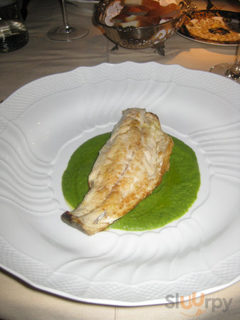 branzino in swiss chard and fava bean puree