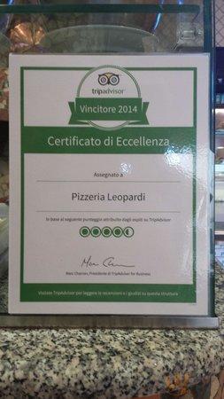 Complimenti a noi per il nostro certificato di eccellenza, e grazie a voi per le vostre recensio