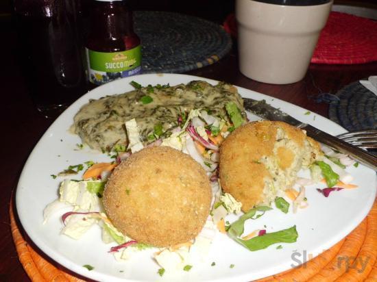 zucchini risotto & seitan with spinach sauce