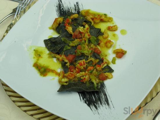 Black Ravioli with Seafood