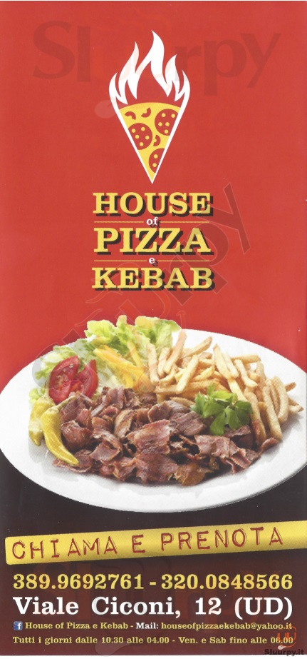 HOUSE OF PIZZA E KEBAB Udine menù 1 pagina