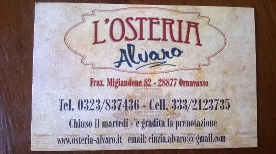 L'osteria Alvaro, Ornavasso