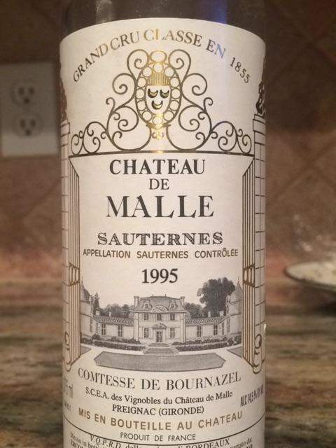 Château de Malle Sauternes Grand Cru Classé 1995