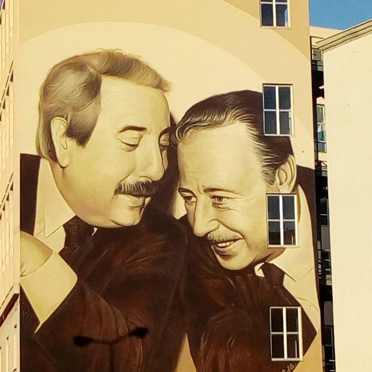 Il Murales che celebra Falcone e Borsellino