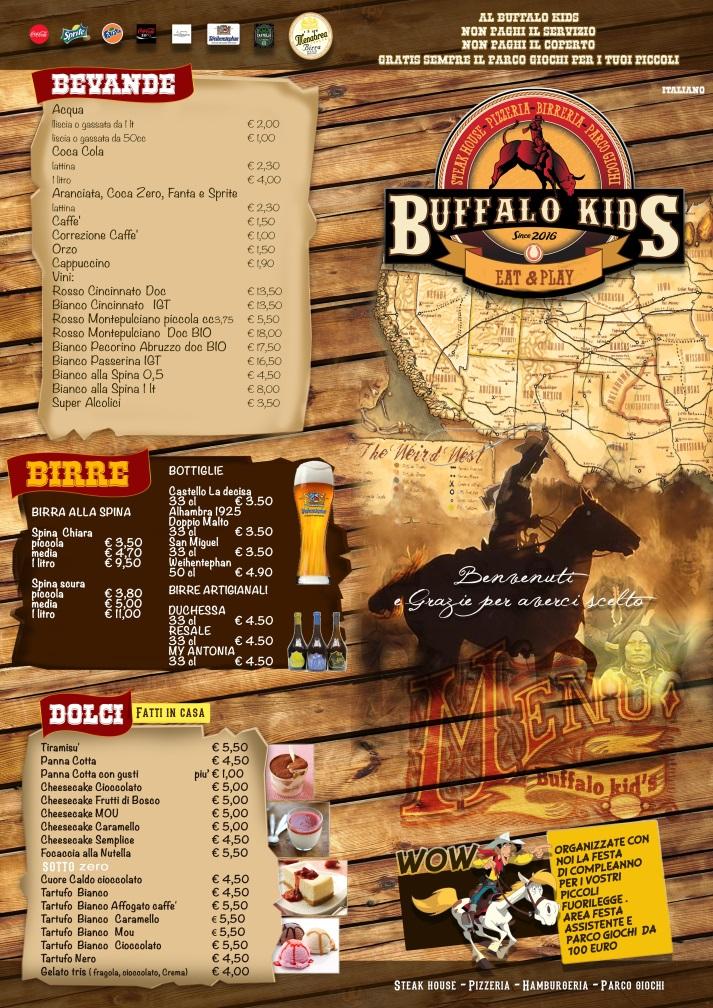 Buffalo Kids Fiumicino menù 1 pagina