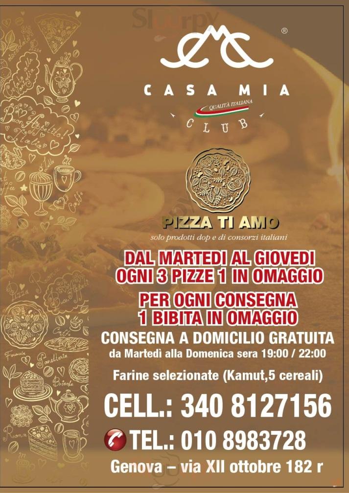 CASA MIA CLUB Genova menù 1 pagina