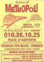 Foto del menù di LE PIZZE DI METROPOLI