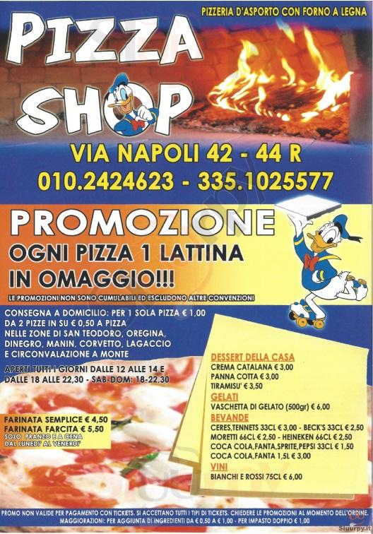 PIZZA SHOP Genova menù 1 pagina