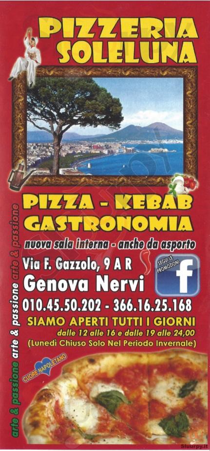 SOLE LUNA Genova menù 1 pagina
