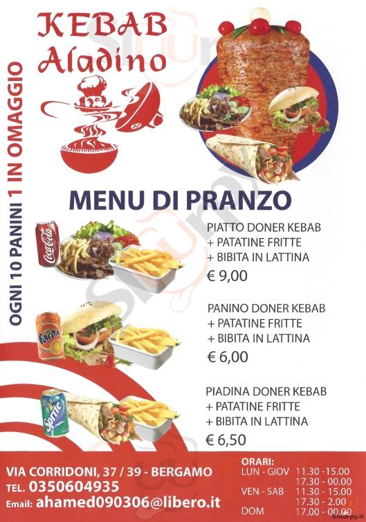 ALADINO Bergamo menù 1 pagina