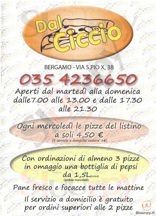 DAL CICCIO Bergamo menù 1 pagina