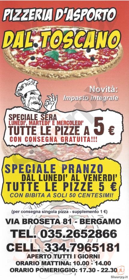 DAL TOSCANO Bergamo menù 1 pagina