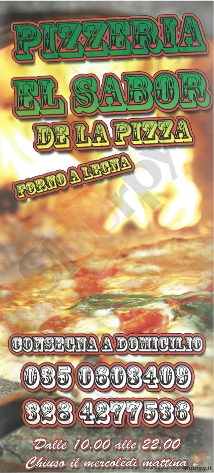 EL SABOR DE LA PIZZA Bergamo menù 1 pagina