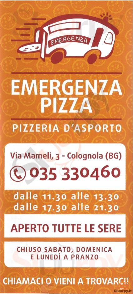 EMERGENZA PIZZA Bergamo menù 1 pagina