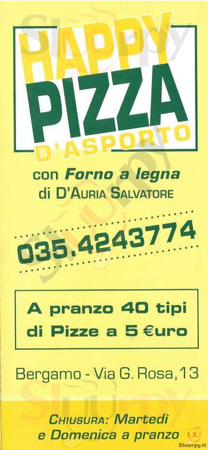 HAPPY PIZZA Bergamo menù 1 pagina