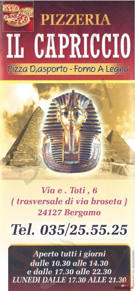IL CAPRICCIO Bergamo menù 1 pagina