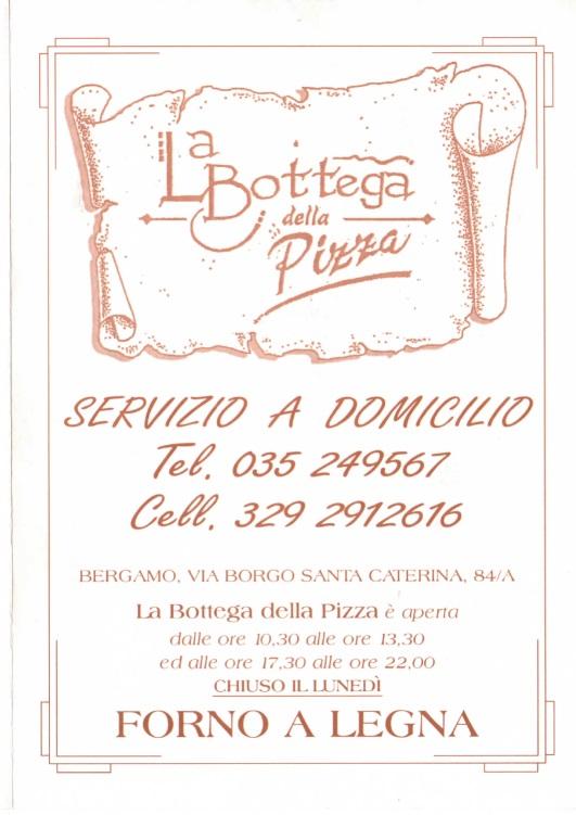 LA BOTTEGA DELLA PIZZA Bergamo menù 1 pagina