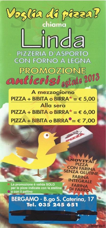 LINDA Bergamo menù 1 pagina