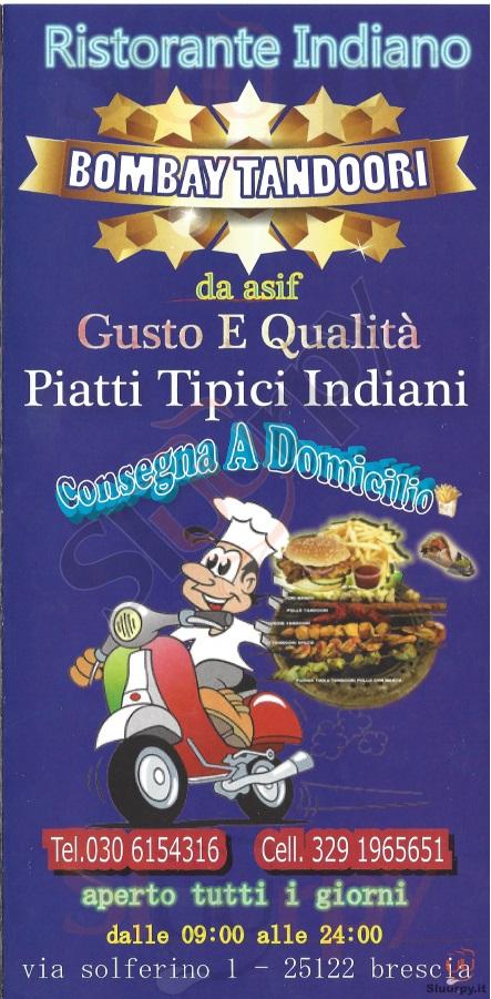 BOMBAY TANDOORI Brescia menù 1 pagina