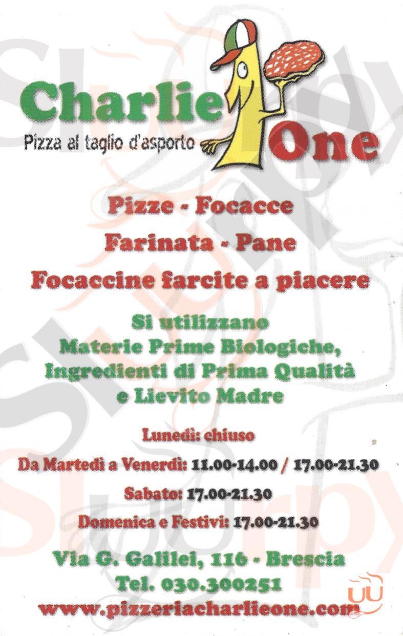 CHARLIE ONE Brescia menù 1 pagina