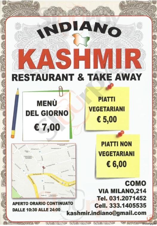 KASHMIR Como menù 1 pagina