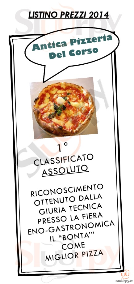 ANTICA PIZZERIA DEL CORSO Cremona menù 1 pagina