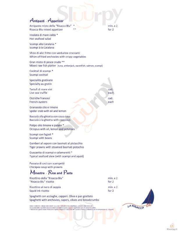 La Risacca Blu Milano menù 1 pagina