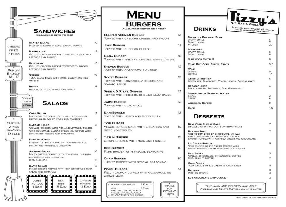 Tizzy's N.Y. Bar & Grill Milano menù 1 pagina
