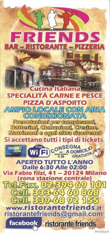 Friends Milano menù 1 pagina