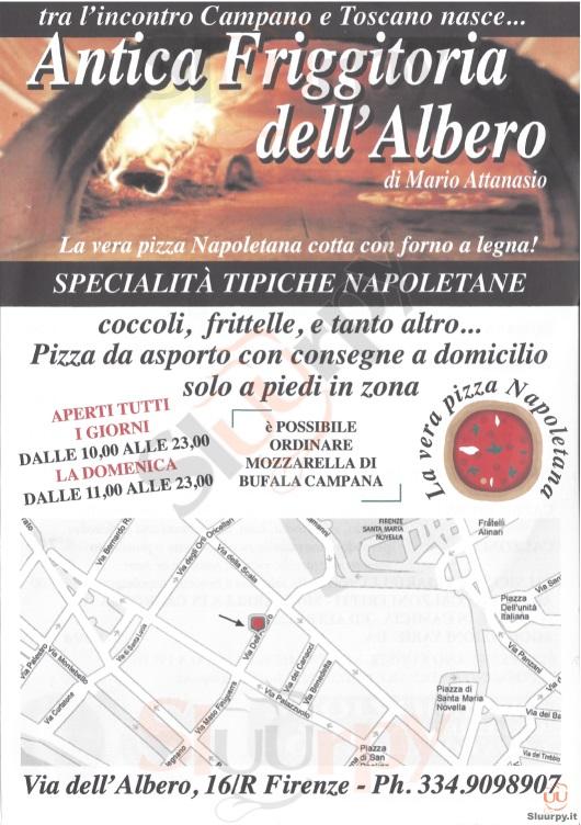 ANTICA FRIGGITORIA DELL'ALBERO Firenze menù 1 pagina