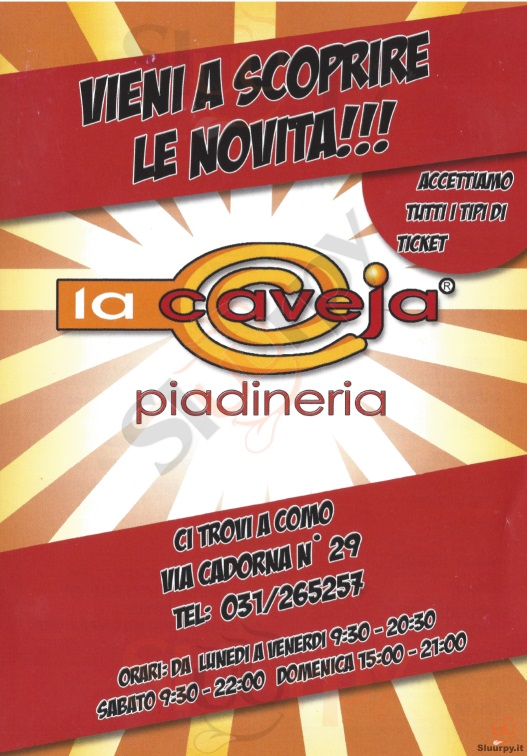 LA CAVEJA , Via Cadorna Como menù 1 pagina