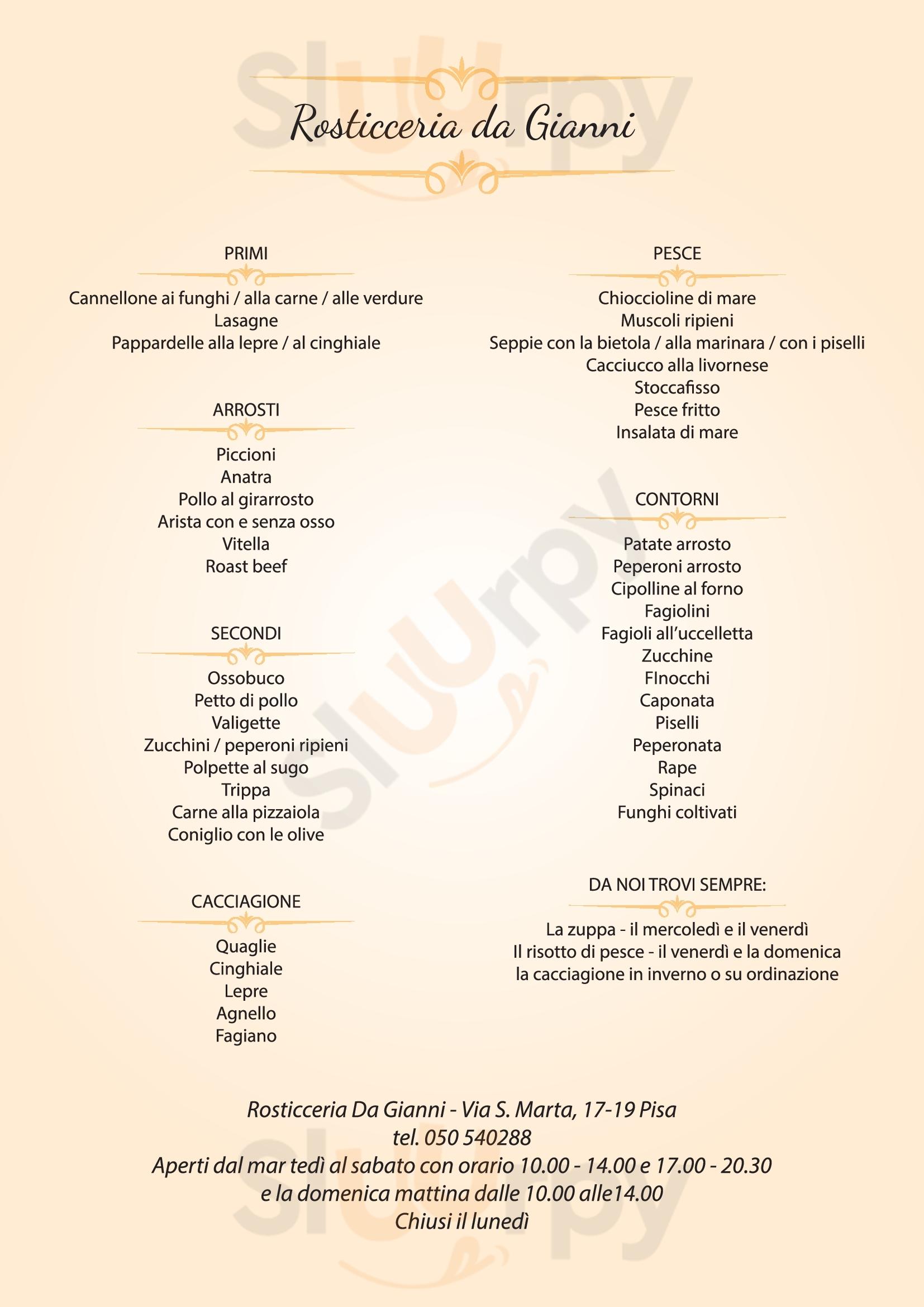 Rosticceria Da Gianni Pisa menù 1 pagina