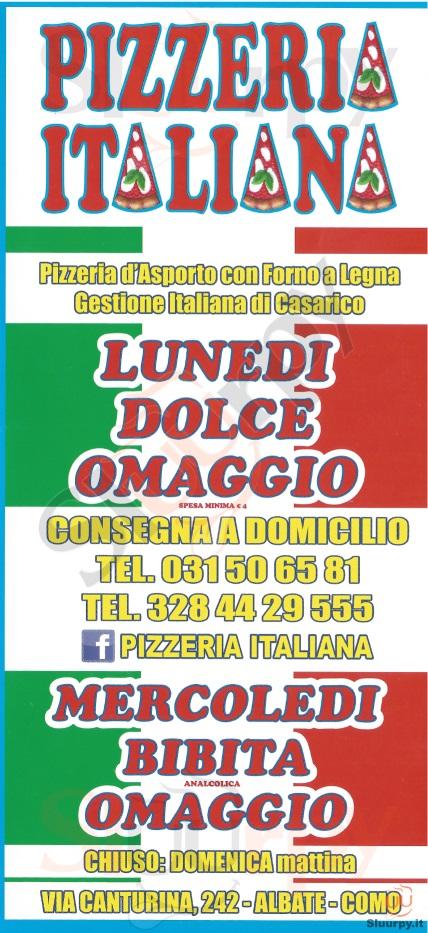 PIZZERIA ITALIANA Como menù 1 pagina